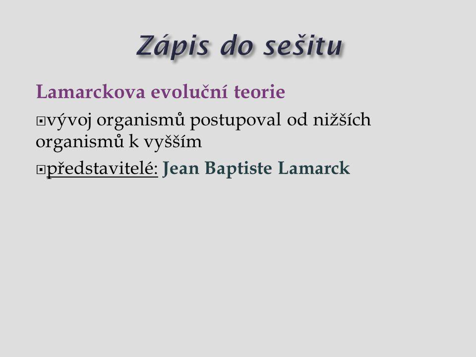 Lamarckova evoluční teorie  vývoj organismů postupoval od nižších organismů k vyšším  představitelé: Jean Baptiste Lamarck
