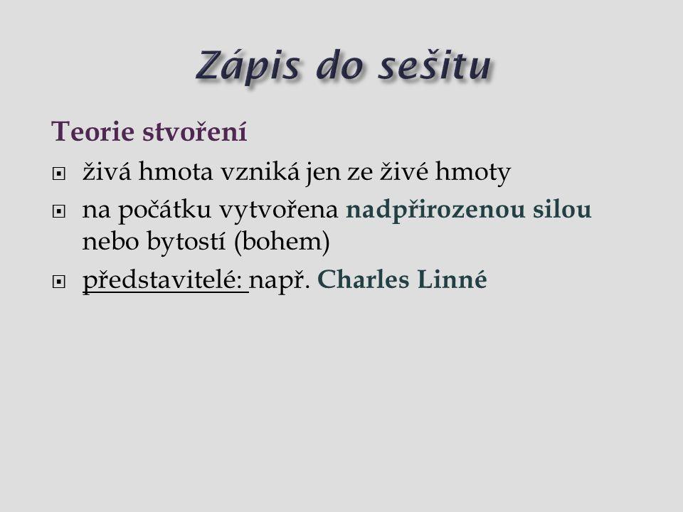  život vzniká z neživé hmoty (žáby z bláta, myši ze slámy)  tuto teorii vyvrátil Louis Pasteur  představitelé: např.