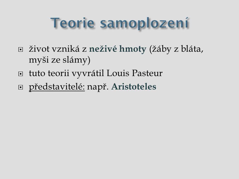  život vzniká z neživé hmoty (žáby z bláta, myši ze slámy)  tuto teorii vyvrátil Louis Pasteur  představitelé: např. Aristoteles