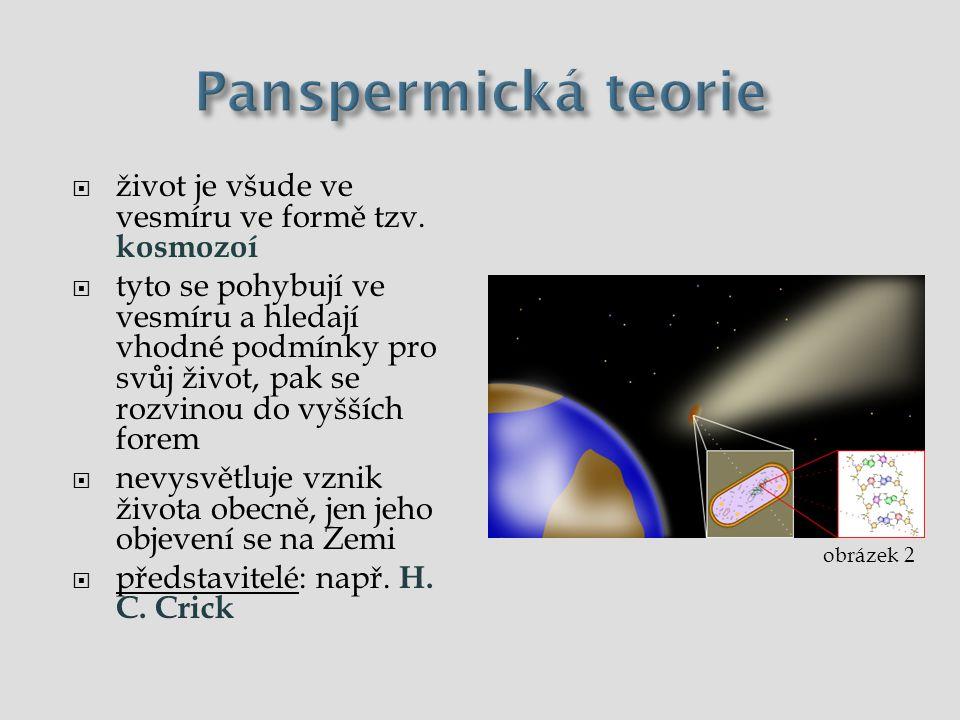 Panspermická teorie  život všude ve vesmíru ve formě tzv.