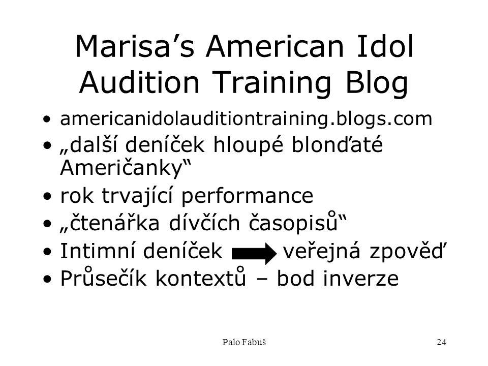 """Palo Fabuš24 Marisa's American Idol Audition Training Blog americanidolauditiontraining.blogs.com """"další deníček hloupé blonďaté Američanky rok trvající performance """"čtenářka dívčích časopisů Intimní deníček veřejná zpověď Průsečík kontextů – bod inverze"""