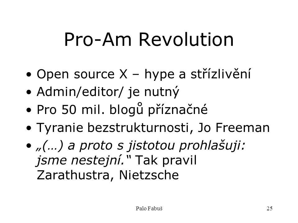 Palo Fabuš25 Pro-Am Revolution Open source X – hype a střízlivění Admin/editor/ je nutný Pro 50 mil. blogů příznačné Tyranie bezstrukturnosti, Jo Free