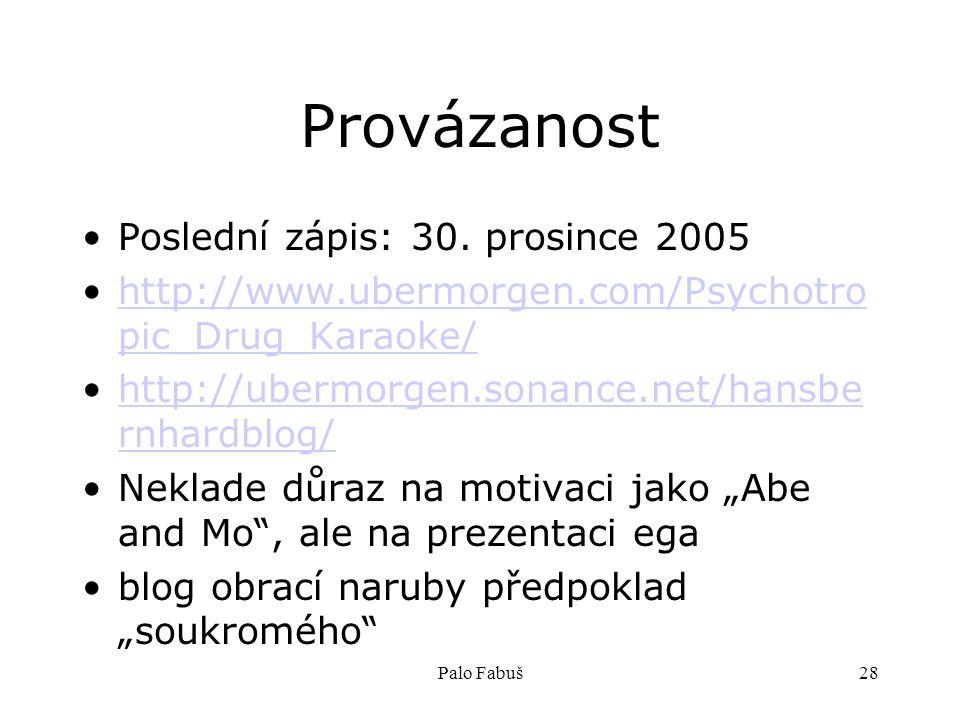 Palo Fabuš28 Provázanost Poslední zápis: 30. prosince 2005 http://www.ubermorgen.com/Psychotro pic_Drug_Karaoke/http://www.ubermorgen.com/Psychotro pi