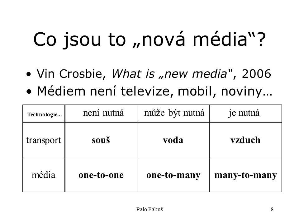 """Palo Fabuš8 Co jsou to """"nová média""""? Vin Crosbie, What is """"new media"""", 2006 Médiem není televize, mobil, noviny… transport Technologie... není nutnámů"""