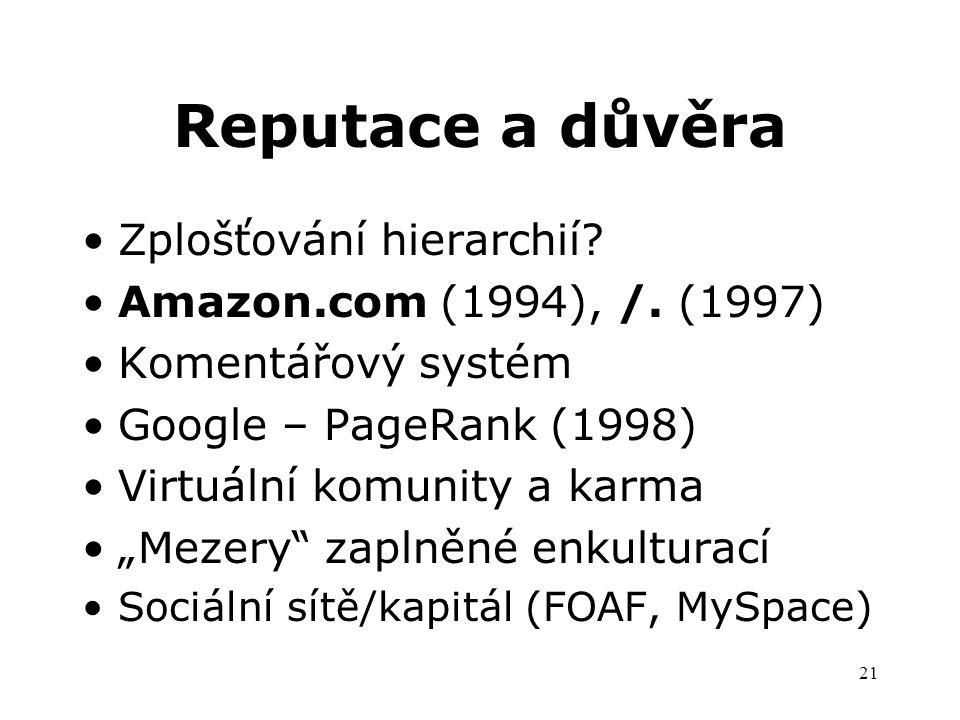 21 Reputace a důvěra Zplošťování hierarchií. Amazon.com (1994), /.