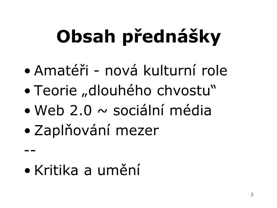 """3 Obsah přednášky Amatéři - nová kulturní role Teorie """"dlouhého chvostu Web 2.0 ~ sociální média Zaplňování mezer -- Kritika a umění"""