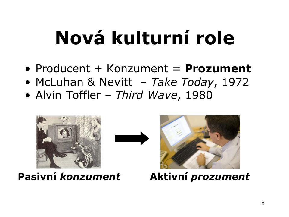 6 Nová kulturní role Producent + Konzument = Prozument McLuhan & Nevitt – Take Today, 1972 Alvin Toffler – Third Wave, 1980 Pasivní konzumentAktivní prozument