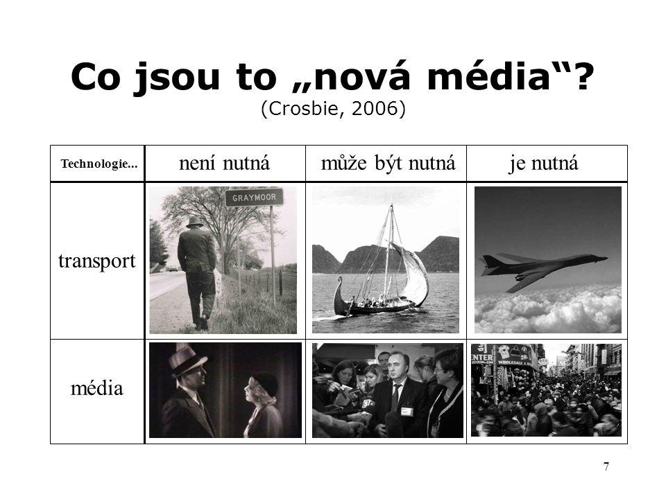 """7 Co jsou to """"nová média . (Crosbie, 2006) transport Technologie..."""