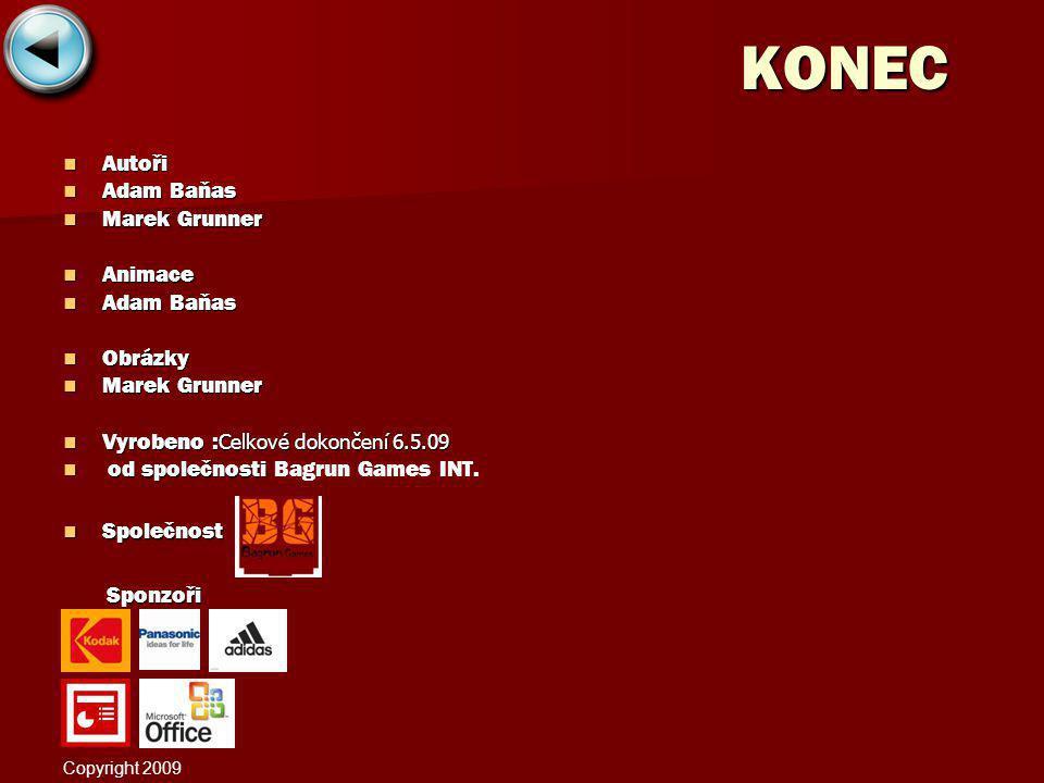 KONEC Autoři Autoři Adam Baňas Adam Baňas Marek Grunner Marek Grunner Animace Animace Adam Baňas Adam Baňas Obrázky Obrázky Marek Grunner Marek Grunne