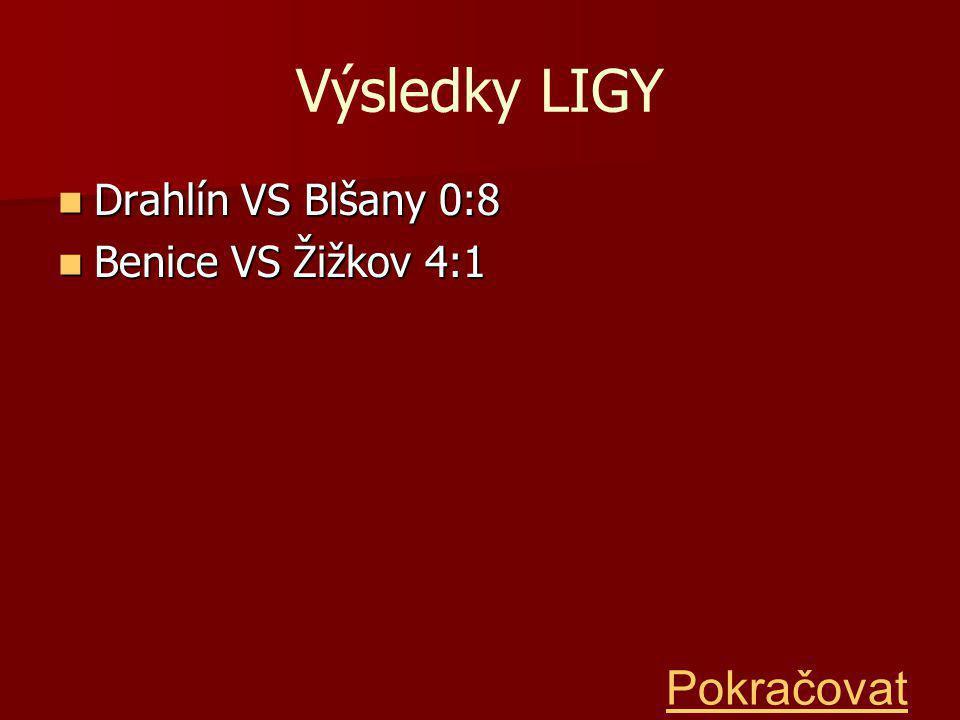 Výsledky LIGY Drahlín VS Blšany 0:8 Drahlín VS Blšany 0:8 Benice VS Žižkov 4:1 Benice VS Žižkov 4:1 Pokračovat
