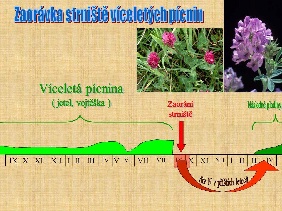 F) Náklady na hnojení celkem Kč/ha tabulka X.