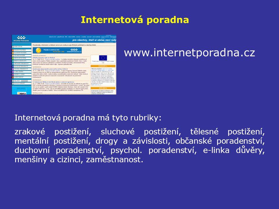 Internetová poradna www.internetporadna.cz Internetová poradna má tyto rubriky: zrakové postižení, sluchové postižení, tělesné postižení, mentální postižení, drogy a závislosti, občanské poradenství, duchovní poradenství, psychol.