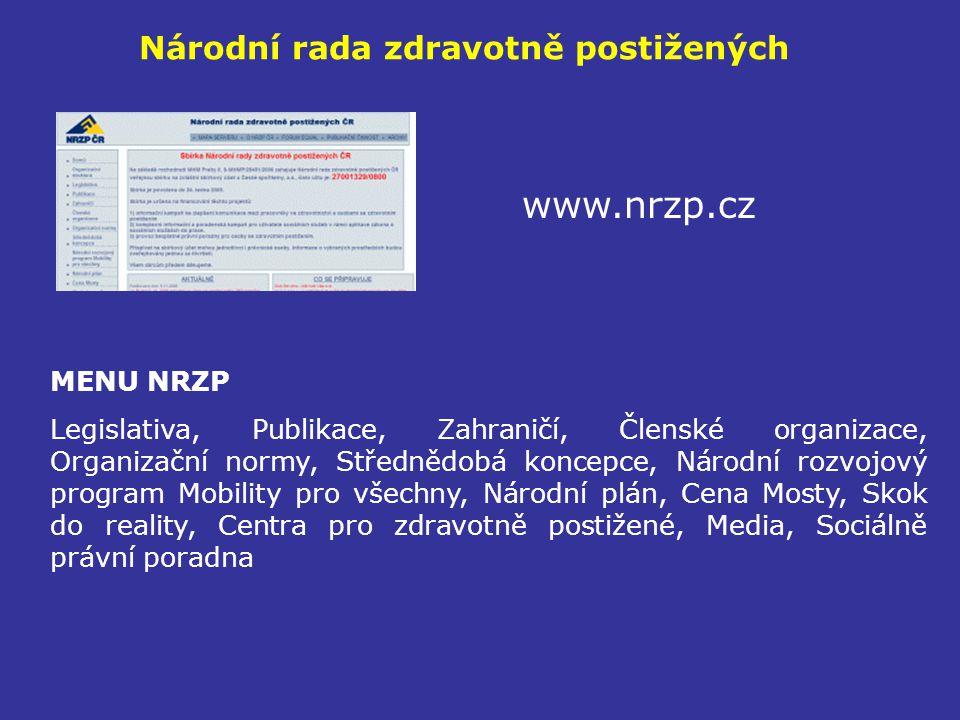 Národní rada zdravotně postižených www.nrzp.cz MENU NRZP Legislativa, Publikace, Zahraničí, Členské organizace, Organizační normy, Střednědobá koncepc