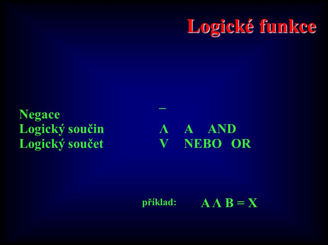 Logické funkce Negace¯ Logický součinΛAAND Logický součetVNEBOOR A Λ B = X příklad: