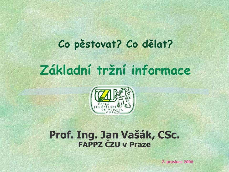 Co pěstovat? Co dělat? Základní tržní informace Prof. Ing. Jan Vašák, CSc. FAPPZ ČZU v Praze 7. prosince 2006