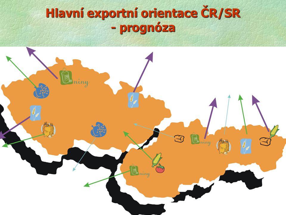 Hlavní exportní orientace ČR/SR - prognóza