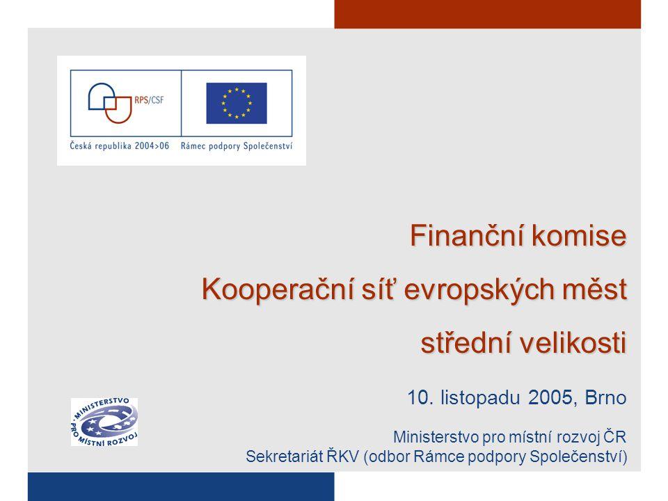 """Problematika spolufinancování Spolufinancování je nutnou podmínkou čerpání Velmi napjatá situace veřejných rozpočtů Hrozba """"vyplnění státního rozpočtu mandatorními výdaji ještě před rokem 2013 ► Reforma veřejných rozpočtů Problém u sektorových i regionálních OP Potřeba sloučit domácí a evropské podpůrné programy Výše spolufinancování –min."""
