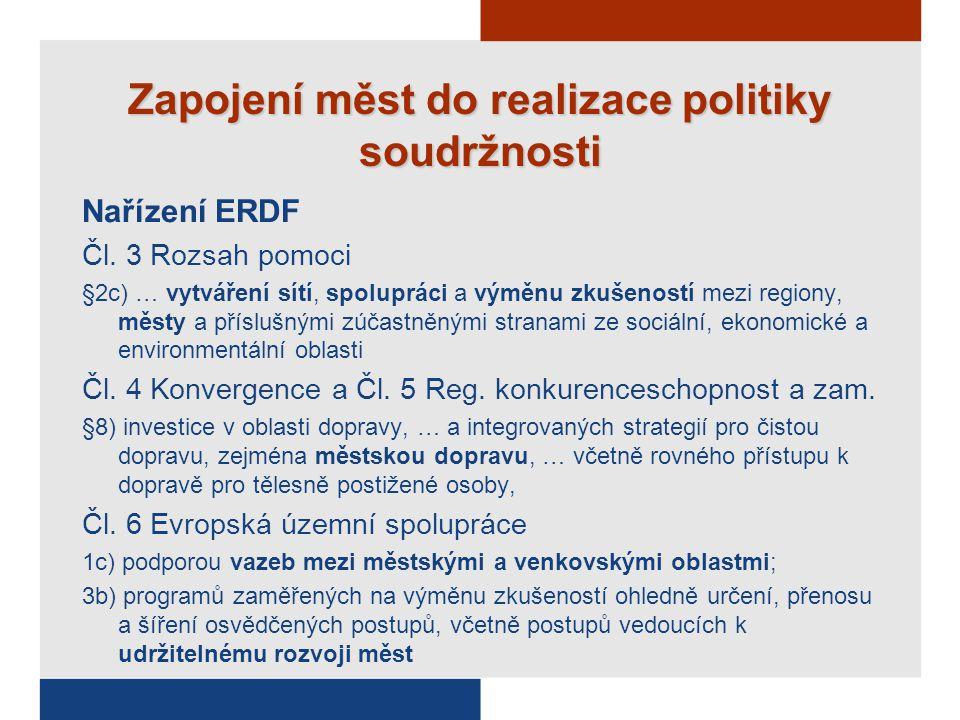 Zapojení měst do realizace politiky soudržnosti Nařízení ERDF Čl.