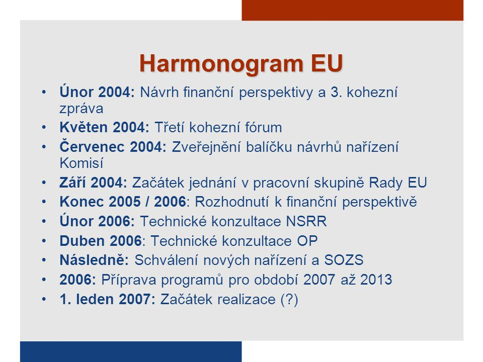 Obecné nařízení pro Evropský fond pro regionální rozvoj, Evropský sociální fond a Fond soudržnosti  Nařízení Evropského fondu pro regionální rozvoj  Nařízení ESF  Nařízení Fondu soudržnosti Jedno nařízení Komise Informování, propagace, finanční kontrola a finanční opravy Rada: jednomyslně EP:souhlas Rada: QMV (kvalifikovaná většina) EP: spolurozhodování Rada: jednomyslně EP: souhlas Rada: QMV EP: spolurozhodování Návrhy nové právní architektury  Nařízení zakládající Evropské seskupení pro přeshraniční spolupráci (EGCC) Nově: Obecné nařízení platí i pro Fond soudržnosti; nový Fond pro rozvoj venkova nyní mimo politiku soudržnosti; jedno nařízení Komise místo pěti pro jednotlivé specifické aspekty, zjednodušená pravidla způsobilosti včleněná přímo do nařízení.