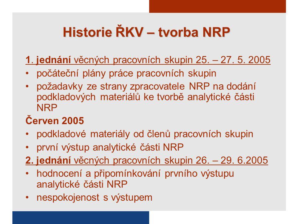 Historie ŘKV – tvorba NRP 1. jednání věcných pracovních skupin 25.
