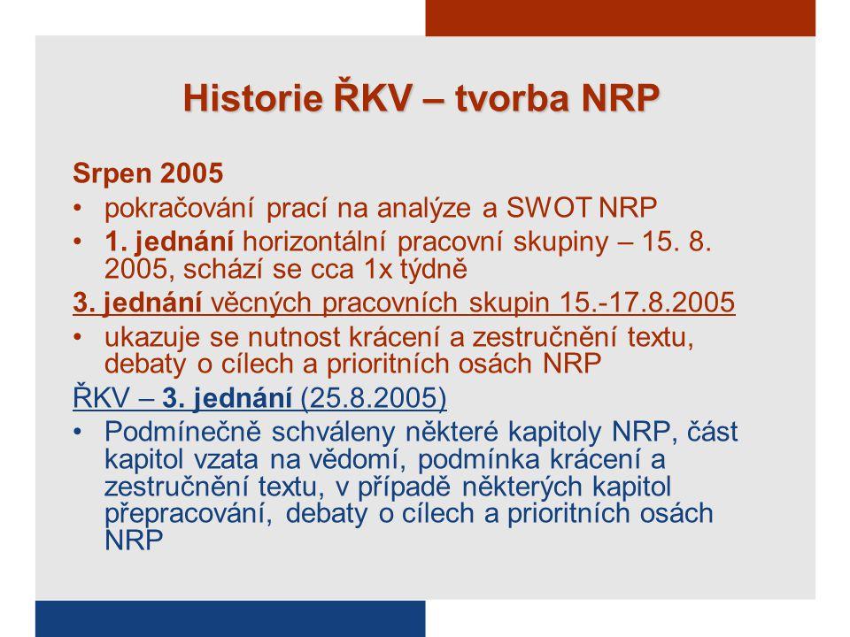Historie ŘKV – tvorba NRP Srpen 2005 pokračování prací na analýze a SWOT NRP 1.