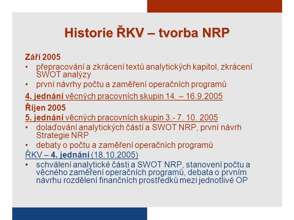 Historie ŘKV – tvorba NRP Září 2005 přepracování a zkrácení textů analytických kapitol, zkrácení SWOT analýzy první návrhy počtu a zaměření operačních programů 4.