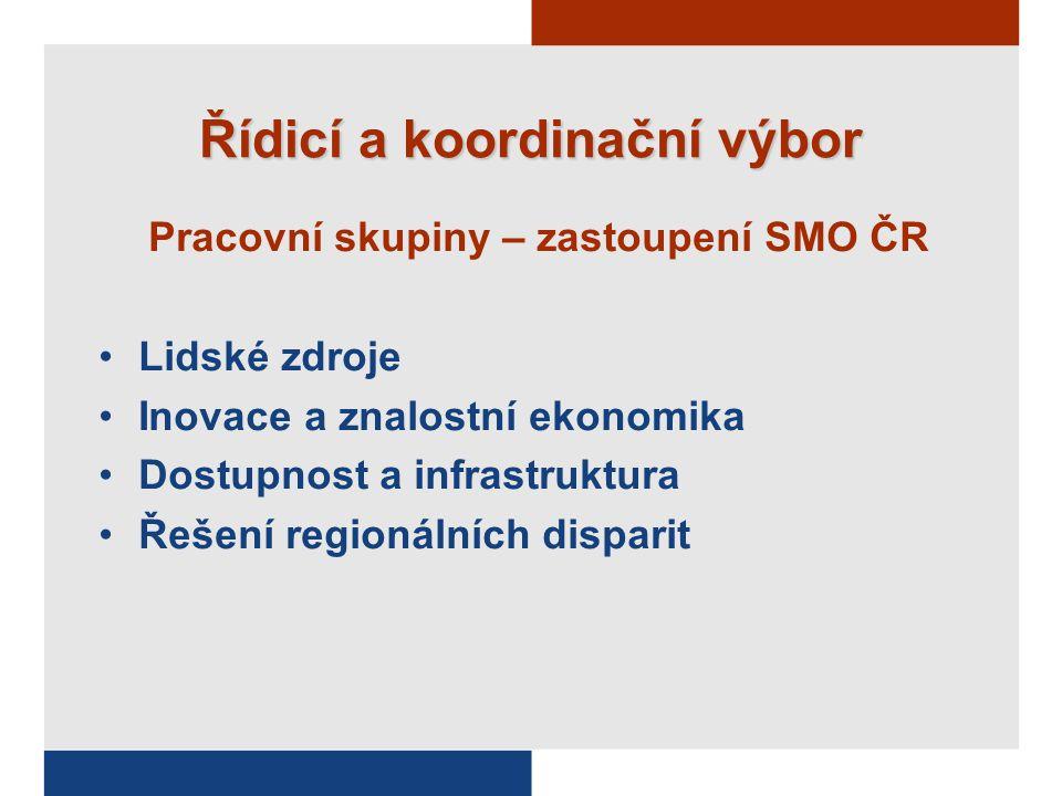 Řídicí a koordinační výbor Pracovní skupiny – zastoupení SMO ČR Lidské zdroje Inovace a znalostní ekonomika Dostupnost a infrastruktura Řešení regionálních disparit
