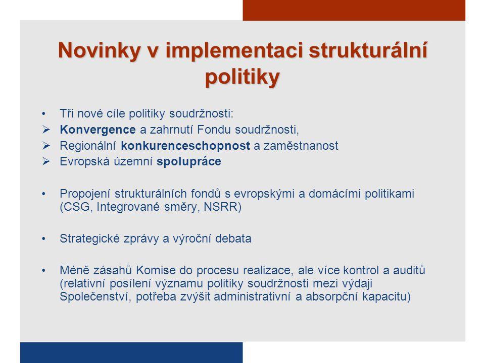 Novinky v implementaci strukturální politiky Tři nové cíle politiky soudržnosti:  Konvergence a zahrnutí Fondu soudržnosti,  Regionální konkurenceschopnost a zaměstnanost  Evropská územní spolupráce Propojení strukturálních fondů s evropskými a domácími politikami (CSG, Integrované směry, NSRR) Strategické zprávy a výroční debata Méně zásahů Komise do procesu realizace, ale více kontrol a auditů (relativní posílení významu politiky soudržnosti mezi výdaji Společenství, potřeba zvýšit administrativní a absorpční kapacitu)