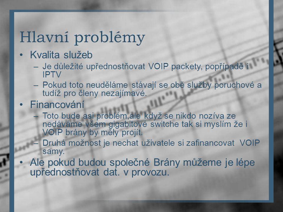 Hlavní problémy Kvalita služeb –Je důležité upřednostňovat VOIP packety, popřípadě i IPTV –Pokud toto neuděláme stávají se obě služby poruchové a tudí