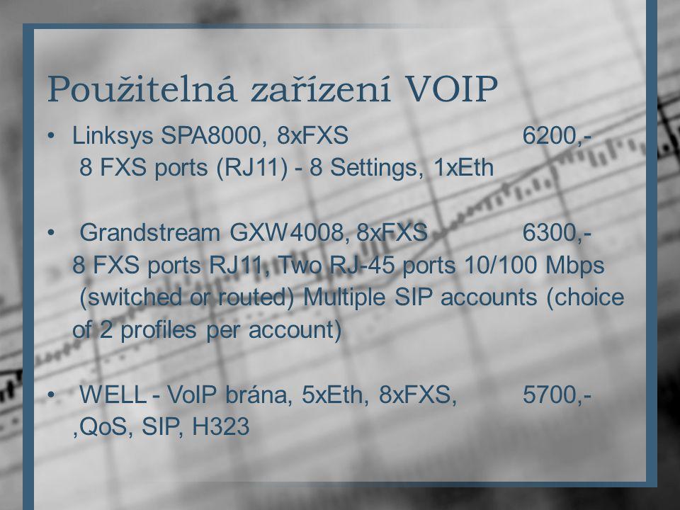 Použitelná zařízení VOIP Linksys SPA8000, 8xFXS6200,- 8 FXS ports (RJ11) - 8 Settings, 1xEth Grandstream GXW4008, 8xFXS6300,- 8 FXS ports RJ11, Two RJ