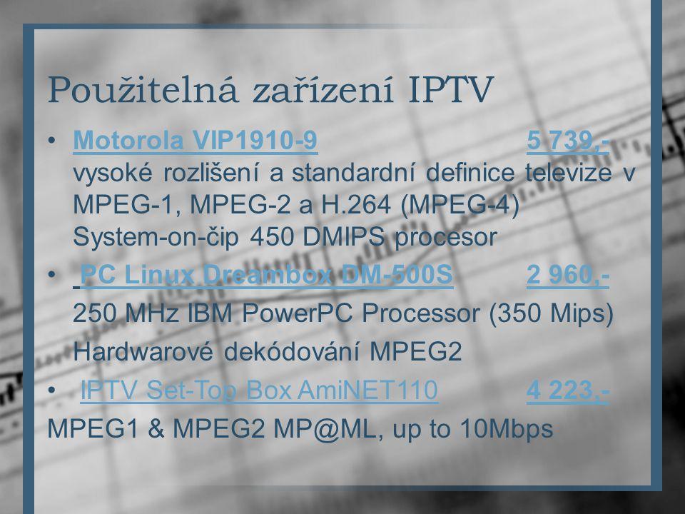 Použitelná zařízení IPTV Motorola VIP1910-9 5 739,- vysoké rozlišení a standardní definice televize v MPEG-1, MPEG-2 a H.264 (MPEG-4) System-on-čip 45