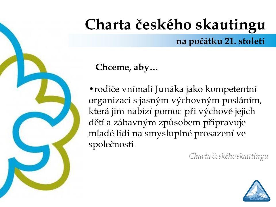 Charta českého skautingu Chceme, aby… rodiče vnímali Junáka jako kompetentní organizaci s jasným výchovným posláním, která jim nabízí pomoc při výchov