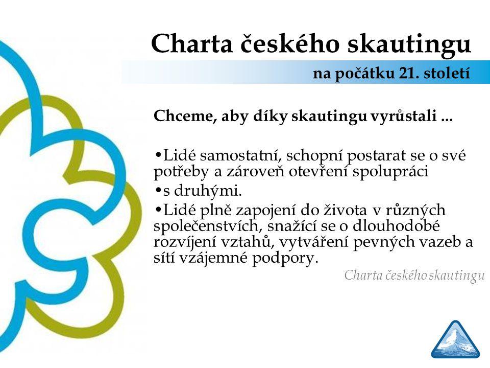 Charta českého skautingu Chceme, aby díky skautingu vyrůstali... Lidé samostatní, schopní postarat se o své potřeby a zároveň otevření spolupráci s dr
