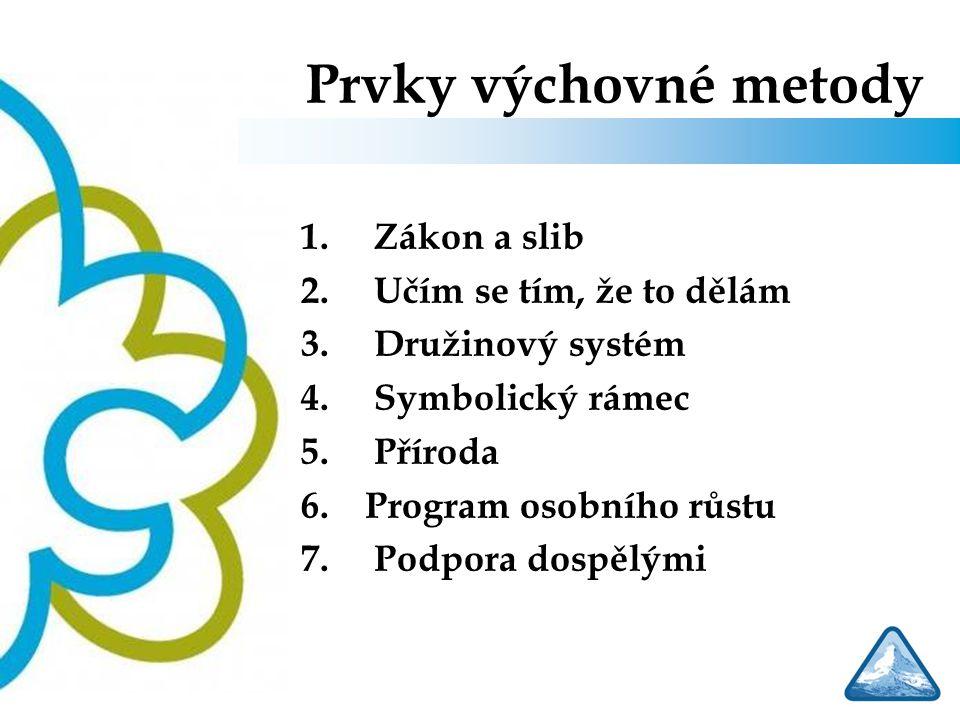 Prvky výchovné metody 1. Zákon a slib 2. Učím se tím, že to dělám 3. Družinový systém 4. Symbolický rámec 5. Příroda 6.Program osobního růstu 7. Podpo