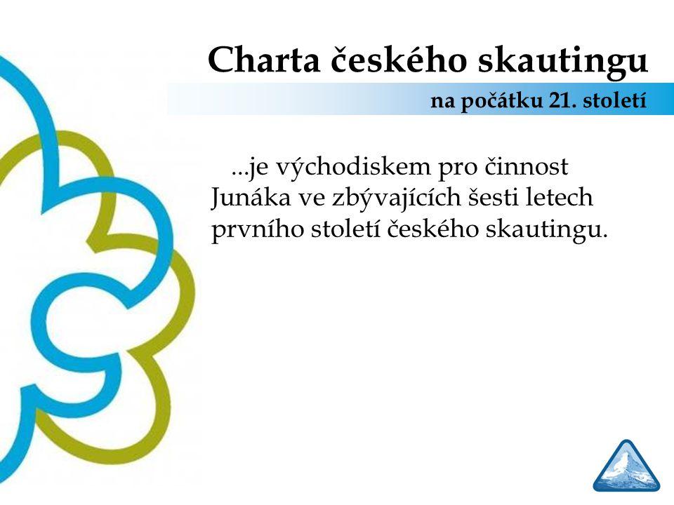 Charta českého skautingu Chceme, aby… Junák byl organizací s pevnými hodnotovými základy na straně jedné, a s moderními, přitažlivými formami a prostředky na straně druhé Charta českého skautingu na počátku 21.