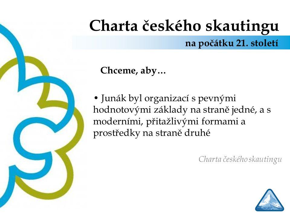 Charta českého skautingu Chceme, aby… Junák byl organizací s pevnými hodnotovými základy na straně jedné, a s moderními, přitažlivými formami a prostř