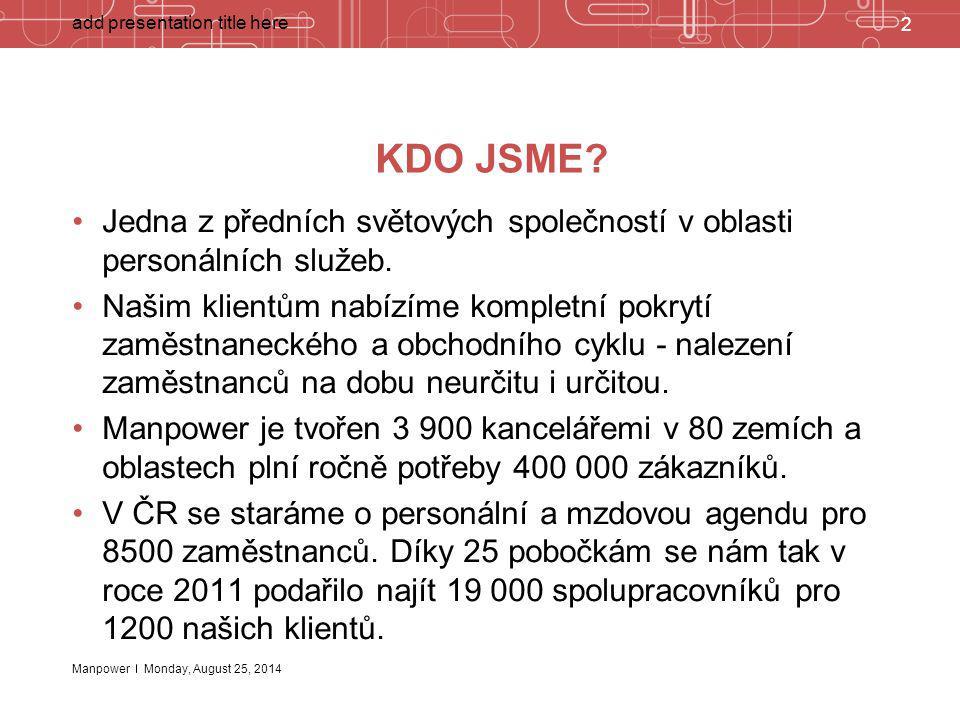 Manpower 2 add presentation title here Monday, August 25, 2014 KDO JSME? Jedna z předních světových společností v oblasti personálních služeb. Našim k