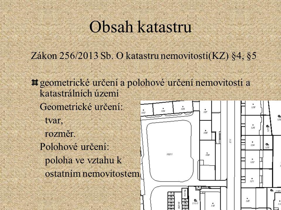 Obsah katastru Zákon 256/2013 Sb. O katastru nemovitostí(KZ) §4, §5 geometrické určení a polohové určení nemovitosti a katastrálních území Geometrické