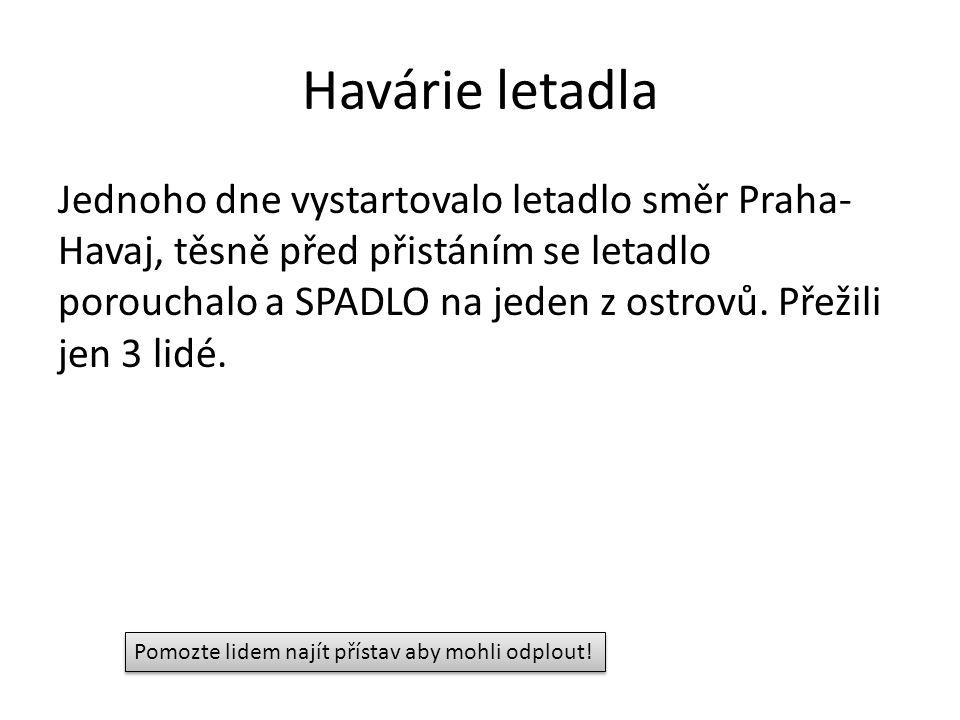 Havárie letadla Jednoho dne vystartovalo letadlo směr Praha- Havaj, těsně před přistáním se letadlo porouchalo a SPADLO na jeden z ostrovů.