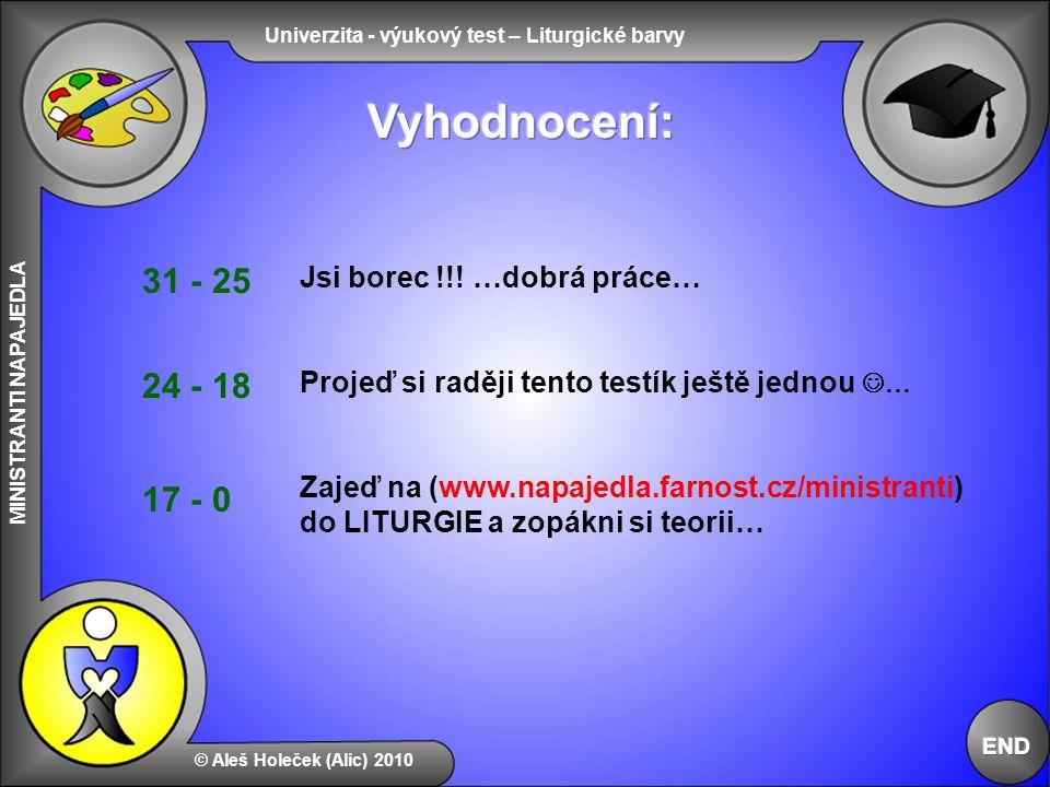 Univerzita - výukový test – Liturgické barvy MINISTRANTI NAPAJEDLA © Aleš Holeček (Alic) 2010 Jsi borec !!! …dobrá práce… Projeď si raději tento testí