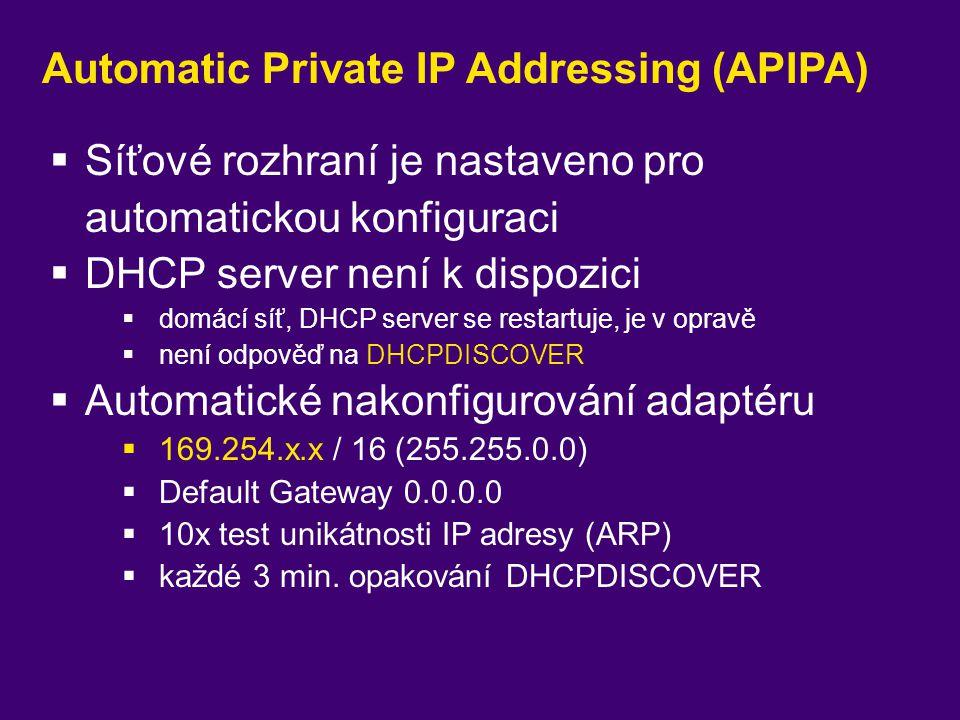 Automatic Private IP Addressing (APIPA)  Síťové rozhraní je nastaveno pro automatickou konfiguraci  DHCP server není k dispozici  domácí síť, DHCP
