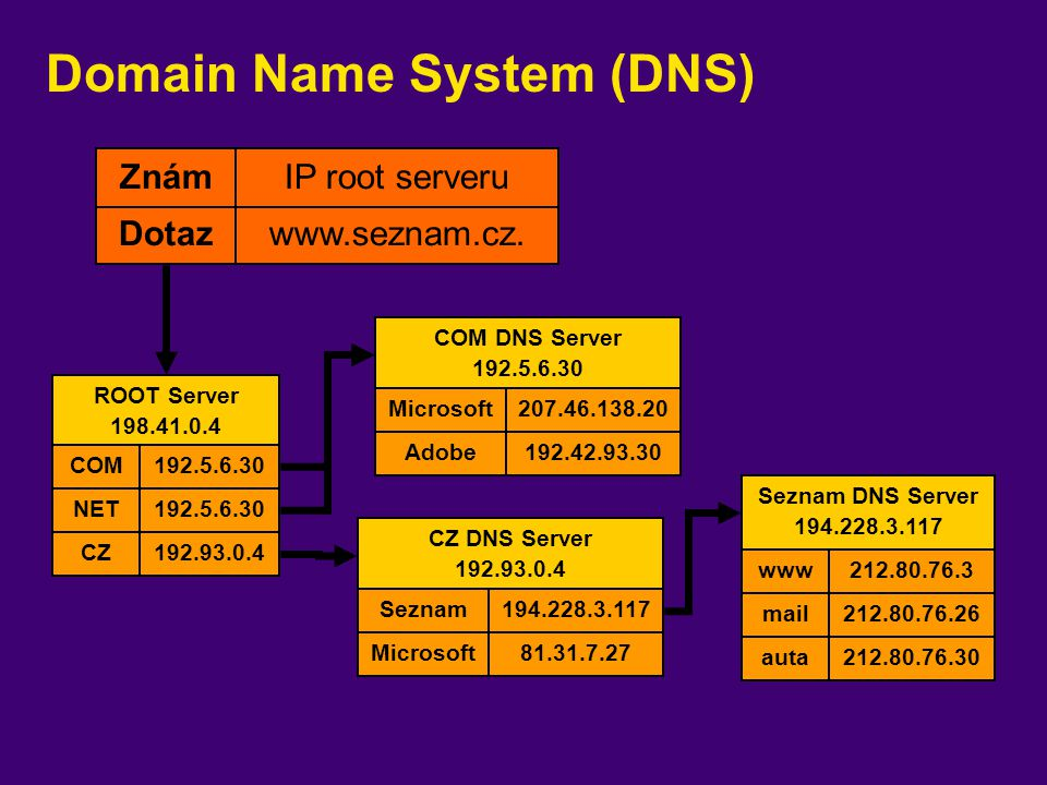 Domain Name System (DNS) ROOT Server 198.41.0.4 192.5.6.30COM 192.5.6.30NET 192.93.0.4CZ COM DNS Server 192.5.6.30 207.46.138.20Microsoft 192.42.93.30