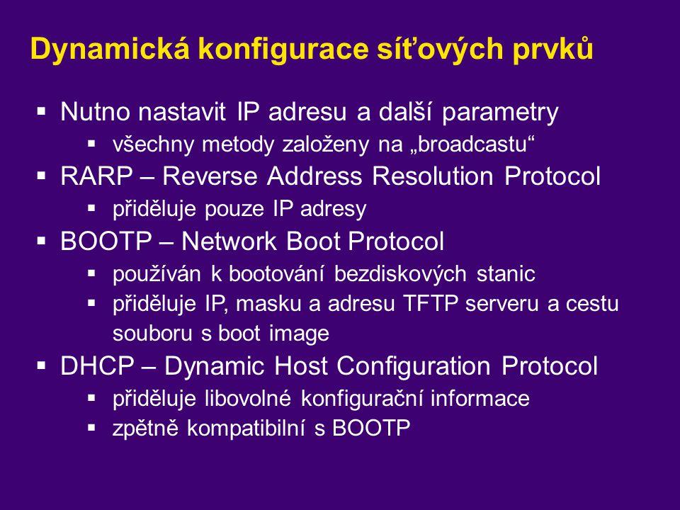 """Dynamická konfigurace síťových prvků  Nutno nastavit IP adresu a další parametry  všechny metody založeny na """"broadcastu""""  RARP – Reverse Address R"""