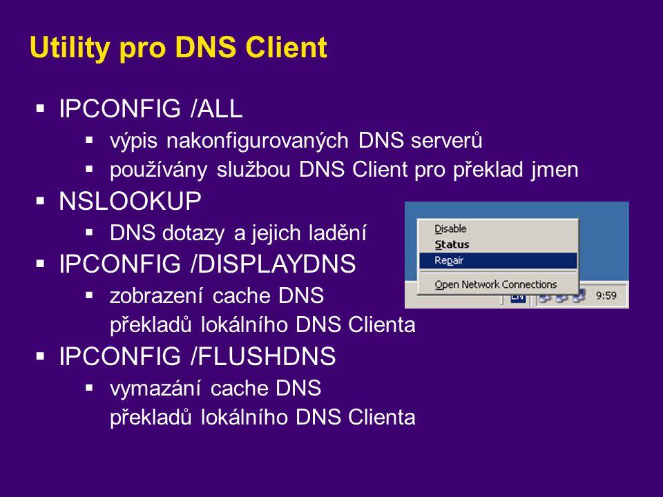 Utility pro DNS Client  IPCONFIG /ALL  výpis nakonfigurovaných DNS serverů  používány službou DNS Client pro překlad jmen  NSLOOKUP  DNS dotazy a