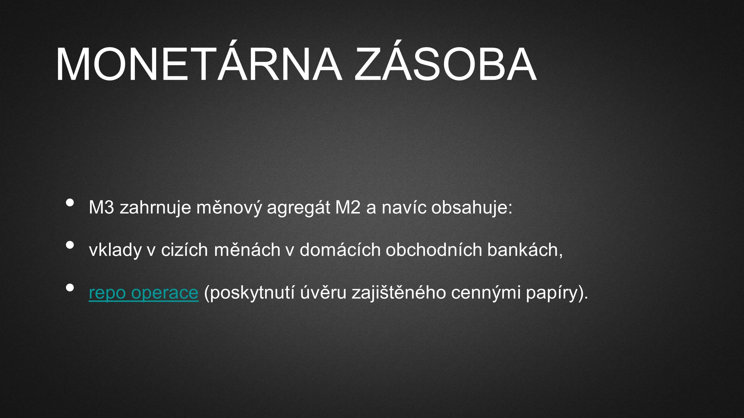 MONETÁRNA ZÁSOBA M3 zahrnuje měnový agregát M2 a navíc obsahuje: vklady v cizích měnách v domácích obchodních bankách, repo operace (poskytnutí úvěru zajištěného cennými papíry).