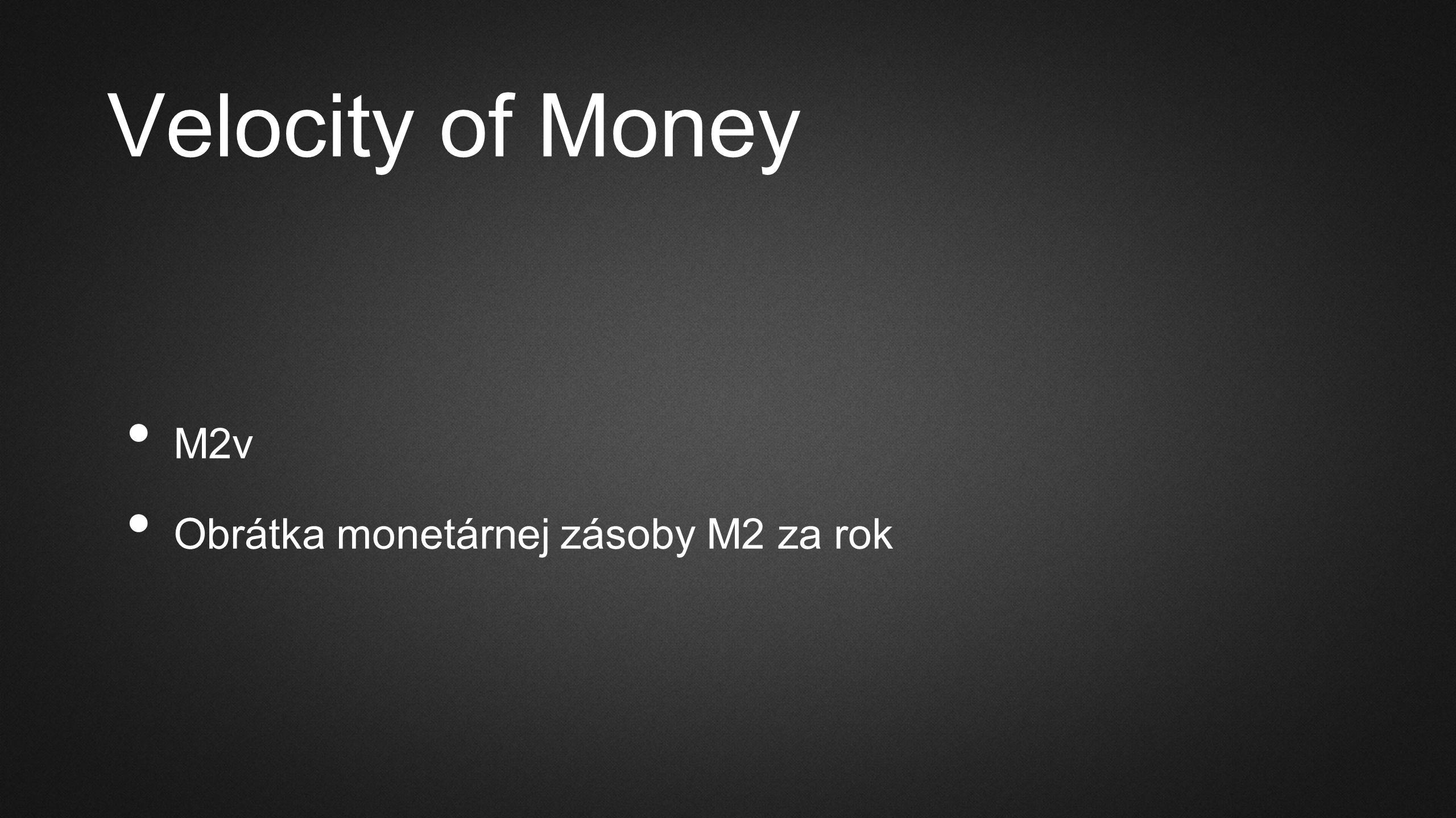 Velocity of Money M2v Obrátka monetárnej zásoby M2 za rok
