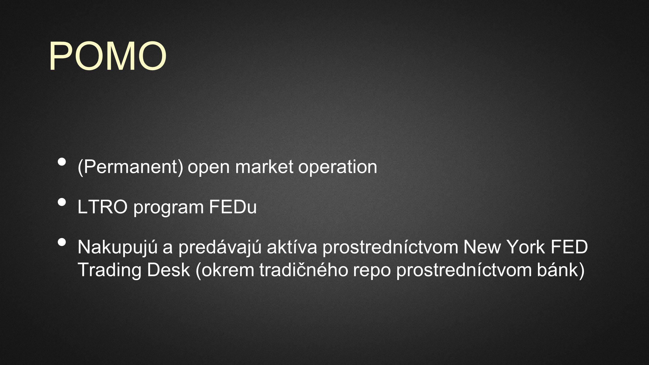 POMO (Permanent) open market operation LTRO program FEDu Nakupujú a predávajú aktíva prostredníctvom New York FED Trading Desk (okrem tradičného repo prostredníctvom bánk)