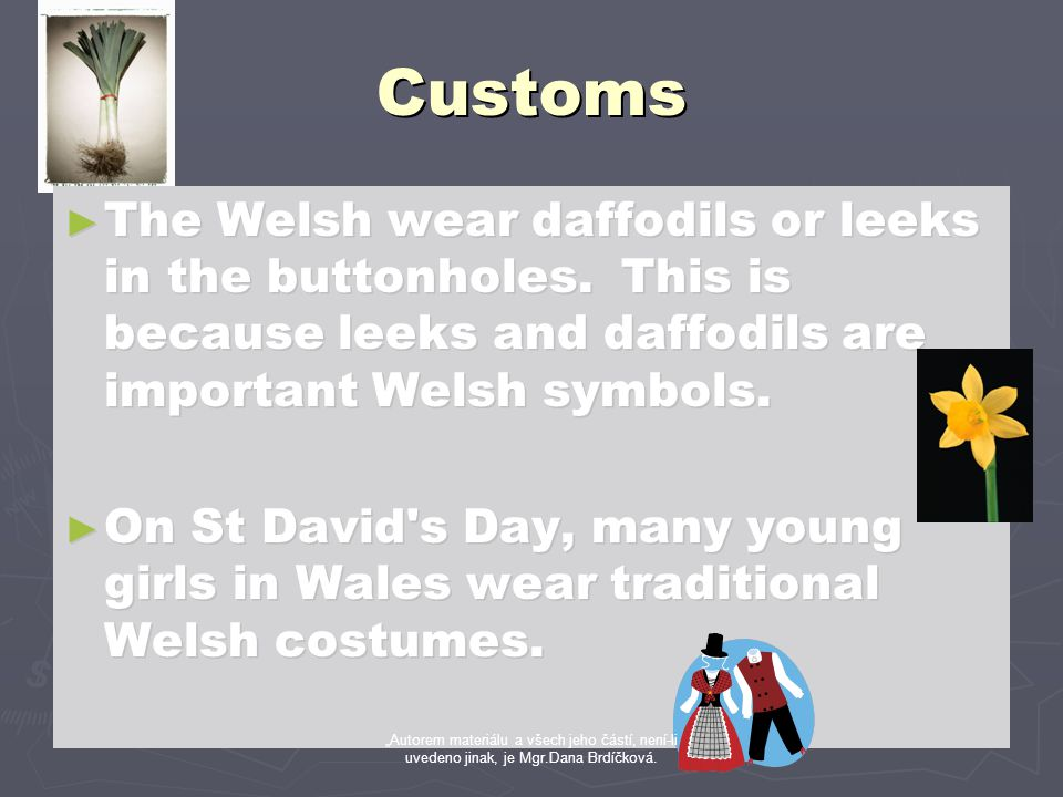 Customs ► The Welsh wear daffodils or leeks in the buttonholes. This is because leeks and daffodils are important Welsh symbols. ► On St David's Day,