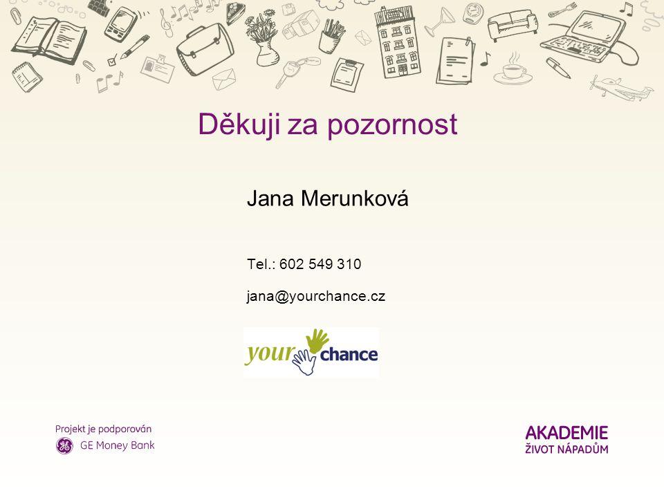 Nadpis Děkuji za pozornost Jana Merunková Tel.: 602 549 310 jana@yourchance.cz