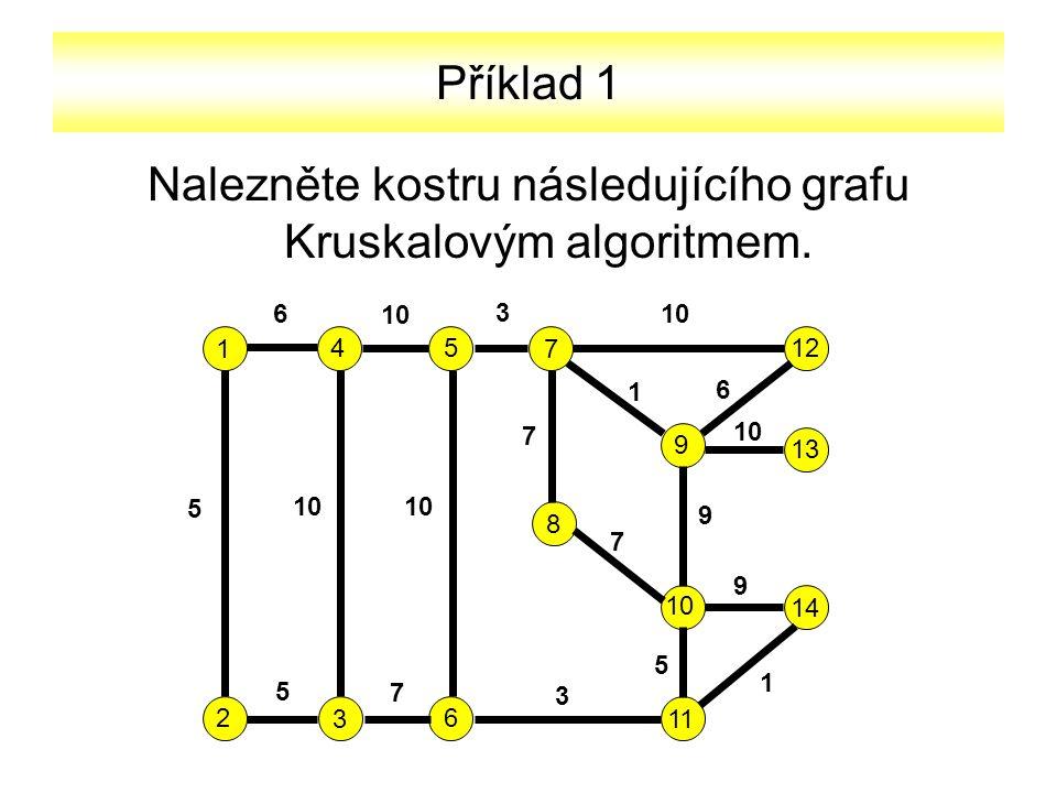 Příklad 1 Nalezněte kostru následujícího grafu Kruskalovým algoritmem. 1 2 3 45 6 7 9 8 10 11 12 13 14 6 10 3 5 7 1 6 7 9 9 5 1 3 7 5